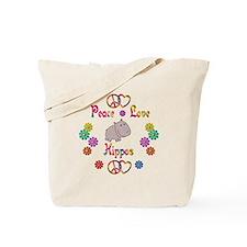 Peace Love Hippos Tote Bag