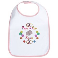 Peace Love Hippos Bib