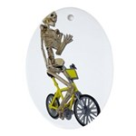 Skeleton on Bicycle Ornament (Oval)