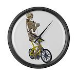 Skeleton on Bicycle Large Wall Clock
