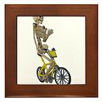 Skeleton on Bicycle Framed Tile