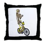 Skeleton on Bicycle Throw Pillow