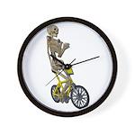 Skeleton on Bicycle Wall Clock