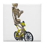 Skeleton on Bicycle Tile Coaster