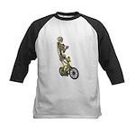 Skeleton on Bicycle Kids Baseball Jersey