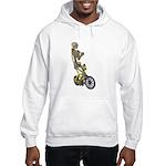 Skeleton on Bicycle Hooded Sweatshirt