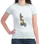 Skeleton on Bicycle Jr. Ringer T-Shirt