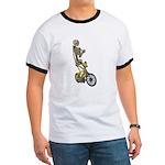 Skeleton on Bicycle Ringer T