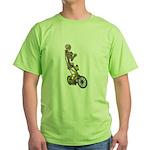 Skeleton on Bicycle Green T-Shirt