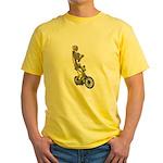 Skeleton on Bicycle Yellow T-Shirt