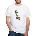Skeleton on Bicycle White T-Shirt