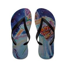 Caribbean Lady, colorful, art Flip Flops