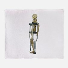 Skeleton on Crutches Throw Blanket