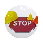 Stop Sign Hard Hat Safety Con Ornament (Round)