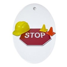 Stop Sign Hard Hat Safety Con Ornament (Oval)