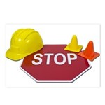 Stop Sign Hard Hat Safety Con Postcards (Package o