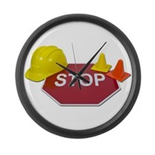 Stop Sign Hard Hat Safety Con Large Wall Clock
