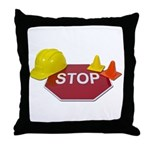 Stop Sign Hard Hat Safety Con Throw Pillow