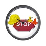 Stop Sign Hard Hat Safety Con Wall Clock