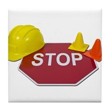Stop Sign Hard Hat Safety Con Tile Coaster