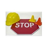 Stop Sign Hard Hat Safety Con Rectangle Magnet (10