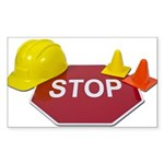 Stop Sign Hard Hat Safety Con Sticker (Rectangle 1