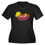 Stop Sign Hard Hat Safety Con Women's Plus Size V-