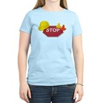 Stop Sign Hard Hat Safety Con Women's Light T-Shir