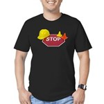 Stop Sign Hard Hat Safety Con Men's Fitted T-Shirt