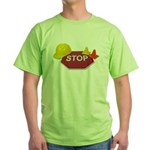 Stop Sign Hard Hat Safety Con Green T-Shirt
