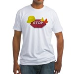 Stop Sign Hard Hat Safety Con Fitted T-Shirt