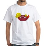 Stop Sign Hard Hat Safety Con White T-Shirt