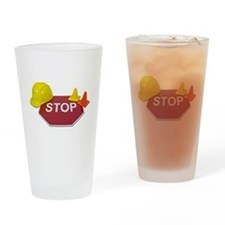 Stop Sign Hard Hat Safety Con Drinking Glass