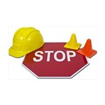 Stop Sign Hard Hat Safety Con 38.5 x 24.5 Wall Pee