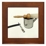 Straight Razor Mug Brush Framed Tile