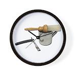 Straight Razor Mug Brush Wall Clock