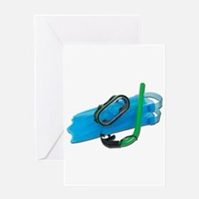 Swimming Goggles Snorkel Fins Greeting Card