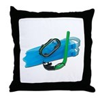 Swimming Goggles Snorkel Fins Throw Pillow