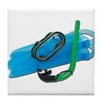 Swimming Goggles Snorkel Fins Tile Coaster