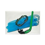 Swimming Goggles Snorkel Fins Rectangle Magnet (10
