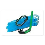 Swimming Goggles Snorkel Fins Sticker (Rectangle 5
