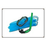 Swimming Goggles Snorkel Fins Banner