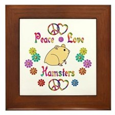 Peace Love Hamsters Framed Tile