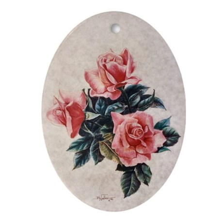 Pink Roses Oval Ornament