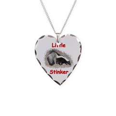 Little Stinker (Baby Skunk) Necklace Heart Charm