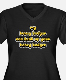 Honey Badger Women's Plus Size V-Neck Dark T-Shirt