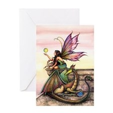 Dragon's Orbs Fairy and Dragon Art Greeting Card