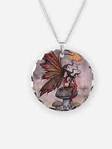 Autumn Fairy Necklace Circle Charm