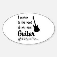 March to the Beat: Guitar Sticker (Oval)