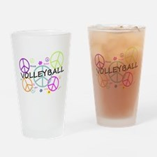 Volleyball Colored Peace Signs Drinking Glass